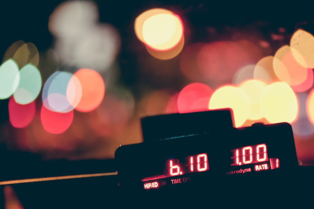 Taximeter in the night