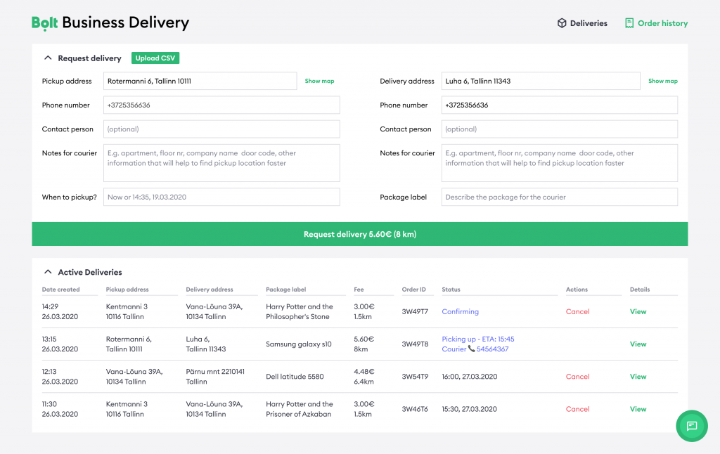 Bolt Business Delivery web interface