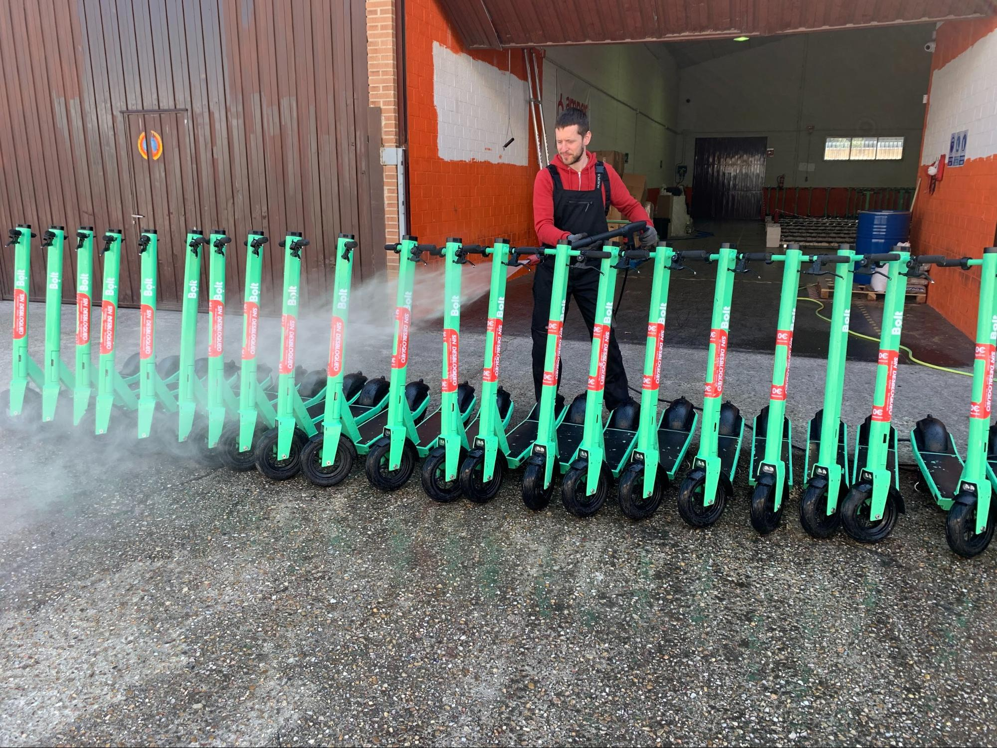 Daily disinfection of Bolt scooters in Spain